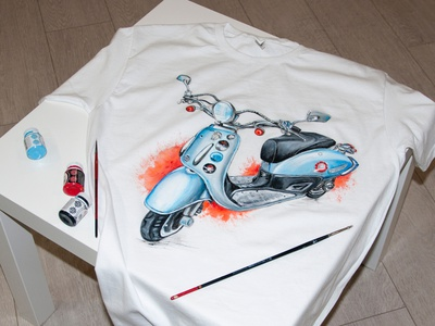 hand-painted t-shirt, scooter, customization drawing branding fashion apparel paint hand-painted handmade design painting