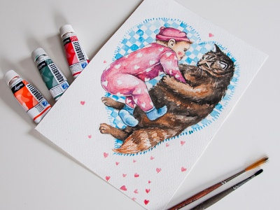 Watercolor illustration, postcard, baby and cat, big love babe kid book illustration postcard watercolor aquarelle cat baby drawing illustration paint style painting