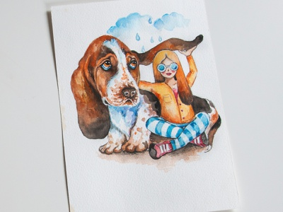Watercolor illustration, dog and girl, postcard to a friend, aqu art girl dog book illustration postcard watercolor aquarelle paint painting illustration