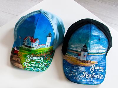 hand-painted cap, handmade, Nantucket island hat cap art paint fashion hand-painted handmade design painting