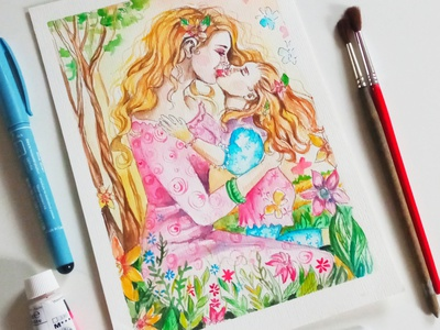 Watercolor card, happy mother's day, mom and daughter drawing painting illustration paint hand-painted design