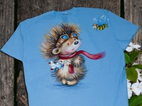 Hand-painted clothing, hedgehog