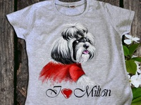 Hand-painted clothing, dog Milton, handmade