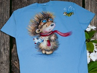 Hand-painted clothing, t-shirt, Hedgehog
