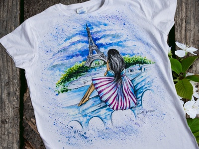 Hand-painted clothing, t-shirt girl hand-painted woman picture branding paint style art fantasy drawing apparel handmade wear painting fashion illustration design
