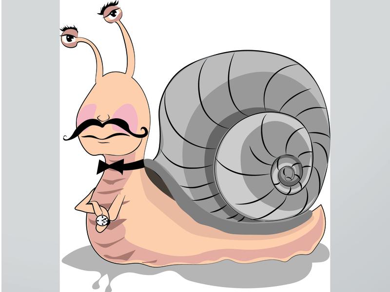 Snail with a clock, vector graphics, cartoon
