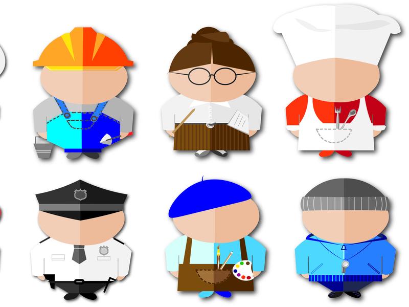 People of different professions. vector graphics, set, part 2 cook artist teacher professions set vector logo style design