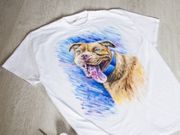 Hand-painted clothing, t-shirt with a dog