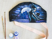 Hand-painted hat for a doctor, catwomen