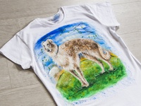 Hand-painted t-shirt with a dog