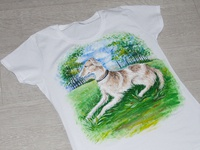 Hand-painted t-shirt, a dog in the forest