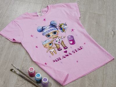 Hand-painted t-shirt, doll LOL