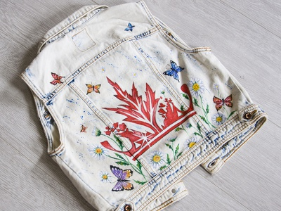 Hand-painted denim jacket for a girl