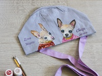Hand-painted hat for a doctor, dogs