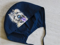 Hand-painted hat for a doctor, funy dog
