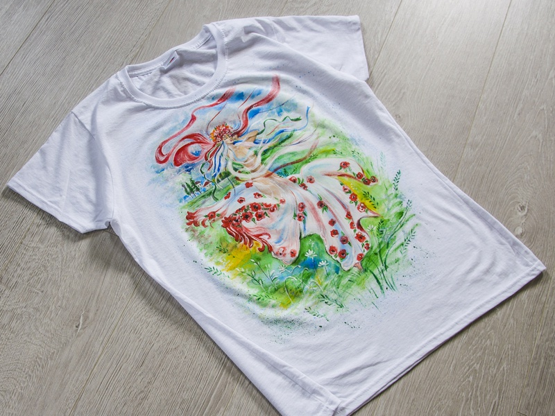 Hand-painted t-shirt for a girl, ukrainian girl picture woman branding art fantasy paint drawing apparel hand-painted wear style handmade illustration fashion painting design