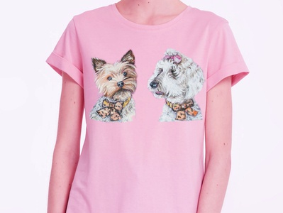 Hand-painted t-shirt with the dogs