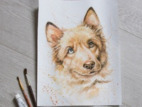 portrait of a dog, watercolor