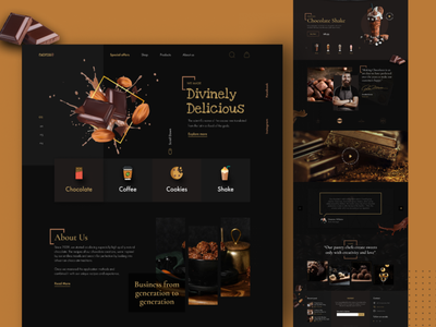 Chocolate Shop Landing Page dribbble branding graphic design apps design user experience user interface food game fitness health furniture medical agency business photoshop ui ux web design web template chocolate shop