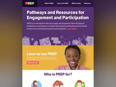 PREP Home Page, Updated illustration colourful branding ui website