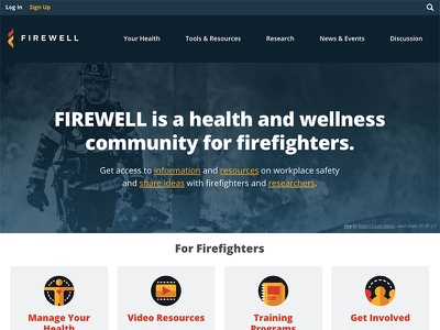 Firewell Homepage wordpress wellness health firefighter fire icons homepage website