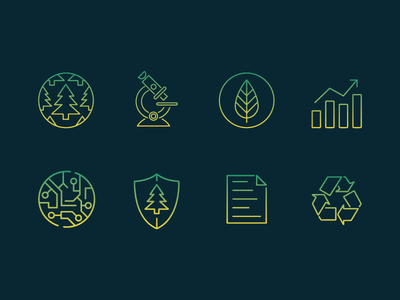 Evergreen Icons technology recycle gradient evergreen fir tree icon