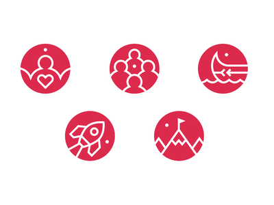 The Next 150 Icons mountain rocket canoe heart people icon