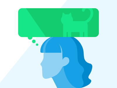 Thinking of her Cat green blue thinking thought bubble cat profile woman illustration