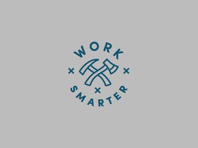 Work Smarter typography illustration axe patch