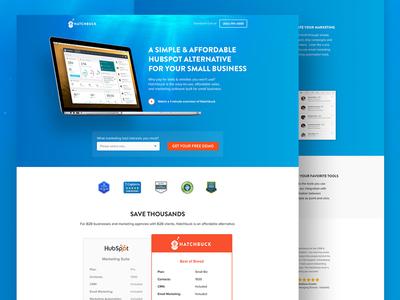 Hatchbuck Landing Page ppc inbound conversion form comparison chart free demo web design crm cro ux ui landing page