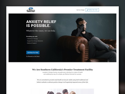 Anxiety Treatment Landing Page marketing page cta call inbound cro web design rehab recovery landing page