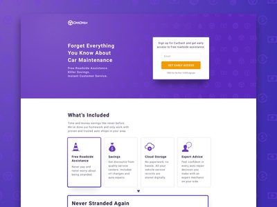 CarDash Landing Page startup purple car automotive email sign up early access lead gen cro web design landing page