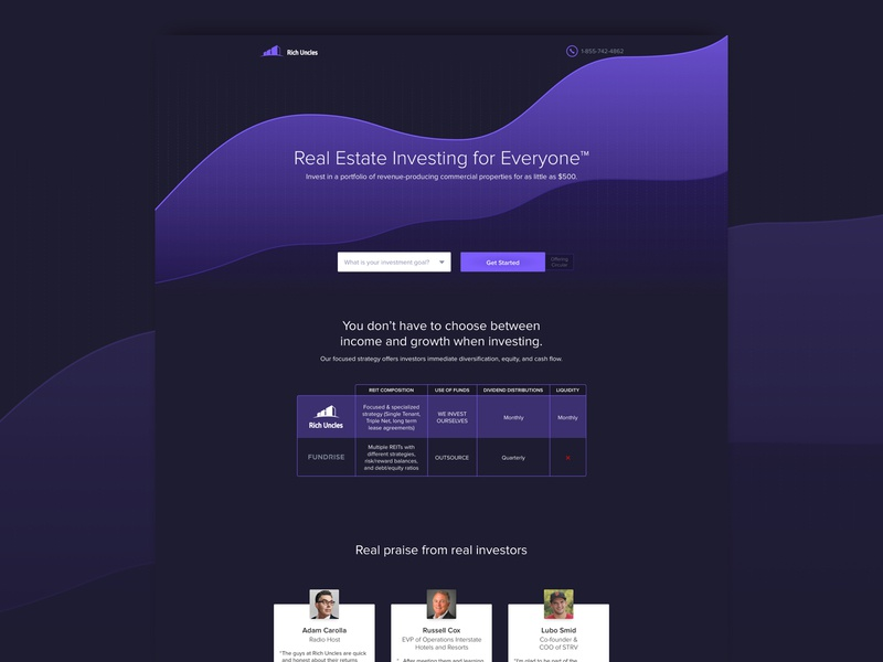 Real Estate Investment Trust Competitor Page cro graphs design website agency marketing ux ui landing page real estate financial investing lead gen
