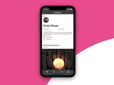Dribbble iOS App - Profile Layout feedbackplease hireme animation motion case study practice exploration dribbble app product ux ui