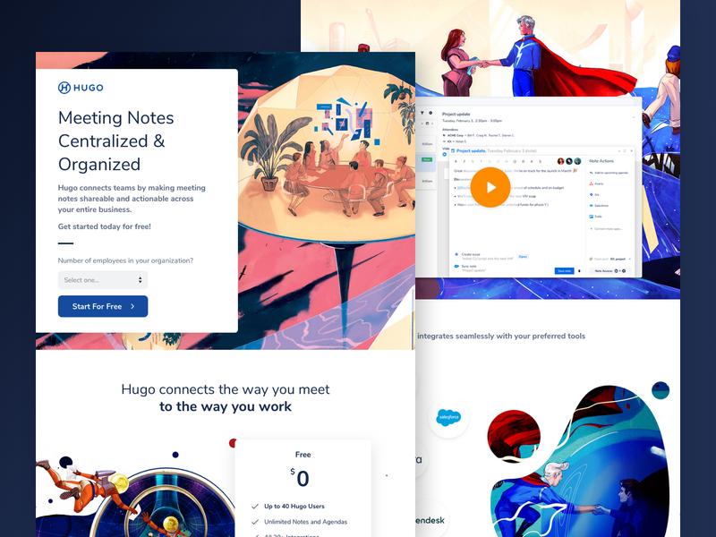 Hugo - Meeting Collaboration Made Easier saas leadgen startup unbounce webdesign design agency web design cro landing page