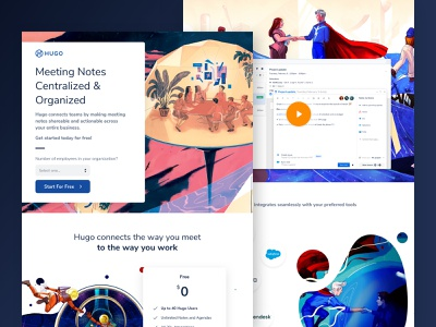 Hugo - Meeting Collaboration Made Easier saas leadgen startup unbounce webdesign design agency web design cro landing page