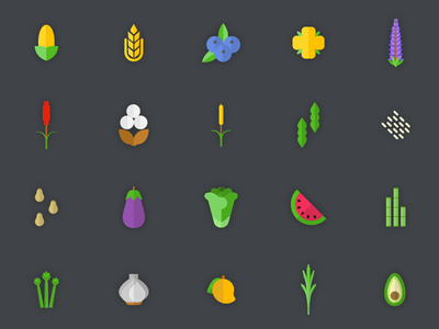 Crops plant seed vegetable fruit crop agriculture set icons icon illustration