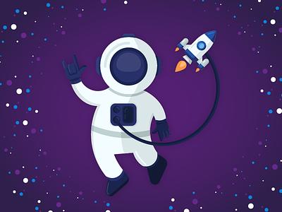 Astronaut stars space illustration icon spaceship rocket astronaut