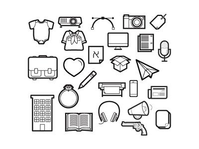Monochromatic Icon Set monochromatic set icon white black
