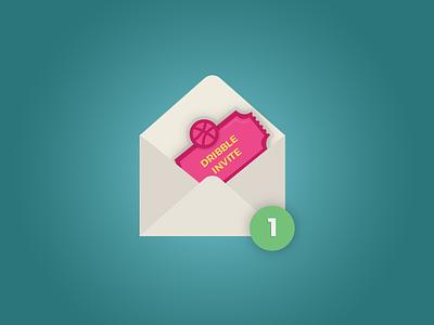 One Dribbble Invite! ticket envelope dribble invite