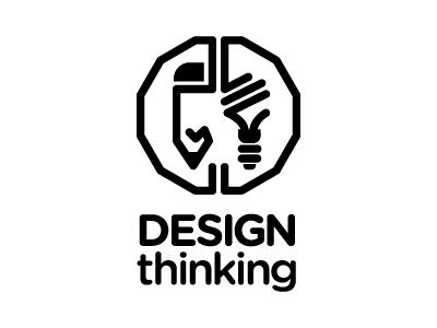 Design Thinking Logo branding identity symbolism conceptual black brain logo vector illustration