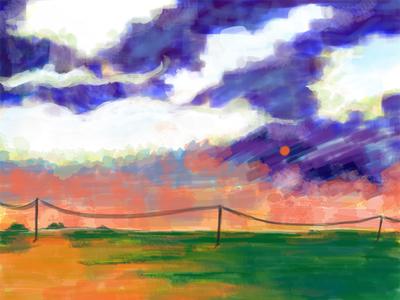 Landscape raster illustration digitalart