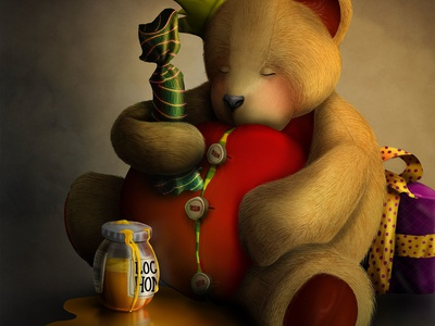 """Sleeping Teddy"" - Adam Parsons art"
