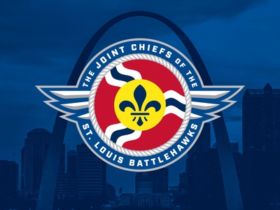 Joint Chiefs of the St. Louis BattleHawks Brand Identity badge military wings roundel rope flag football st louis
