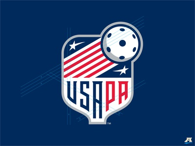 USA Pickleball new badge concept illustration unique font typography logo american america stars and stripes stripes stars storytelling sports design sports branding sports brand sports usa pickleball branding brand identity brand design badge
