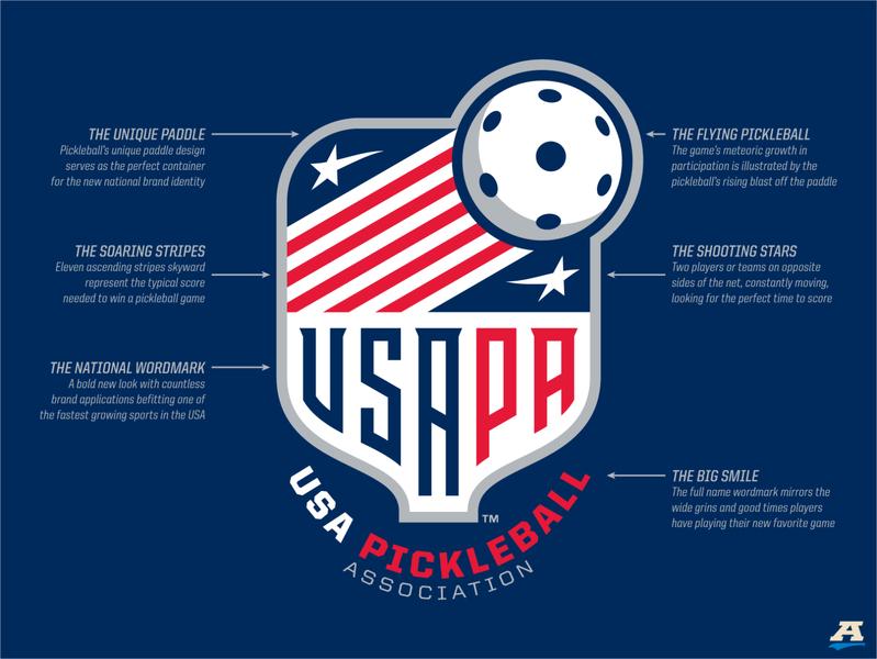 USA Pickleball logo concept usa unique font typography stripes storytelling stars and stripes stars sports design sports branding sports brand sports pickleball logo illustration branding brand identity brand design badge american america