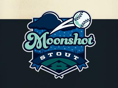 Moonshot Stout - LilyJack Brewing Co (2013) baseball ribbon logo sparts marketing kurt hunzeker beer label moon stars