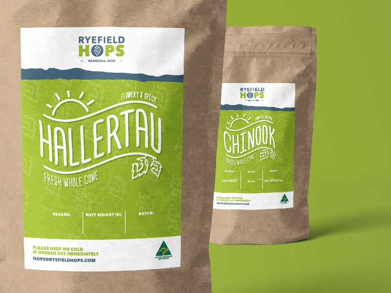 Ryefield Hops packaging design logo identity graphic design branding