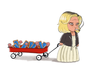 Tiff has the goodies. tiffany cartoon wagon illustration chucky