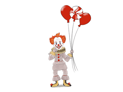 Pennywise has the balloons. balloons clowns pennywise cartoon illustration